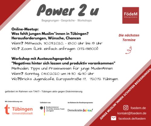 Power 2 u - Online-Meetup und Workshop mit Austauschgespräch